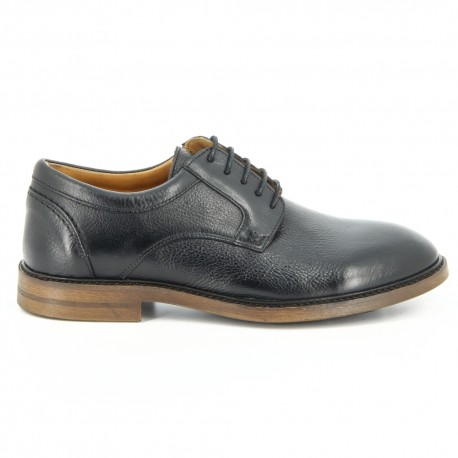 Bryant Lace Up Black Pebbled